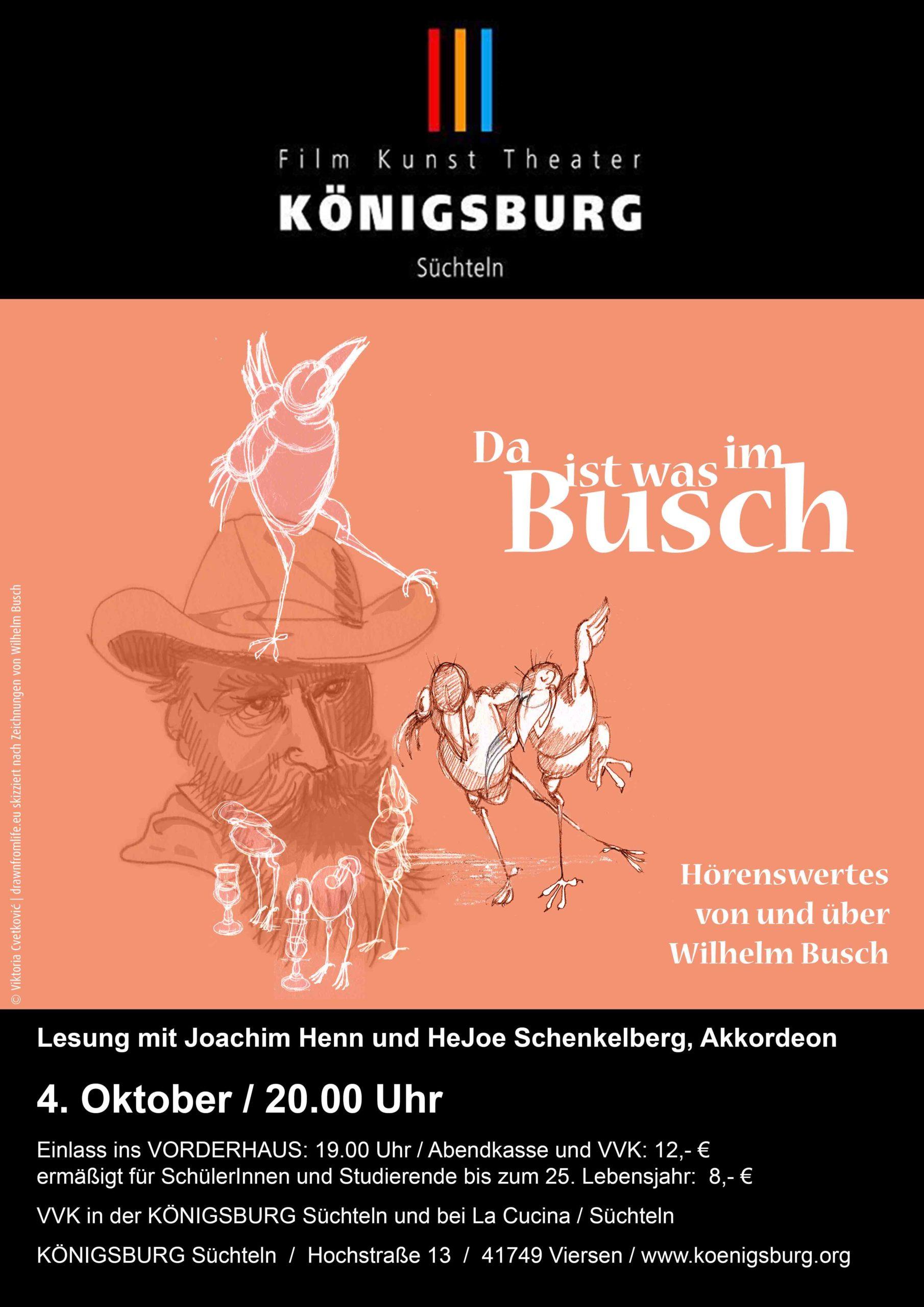Plakat Lesung Wilhelm Busch © Viktoria Cvetković   drawnfromlife.eu
